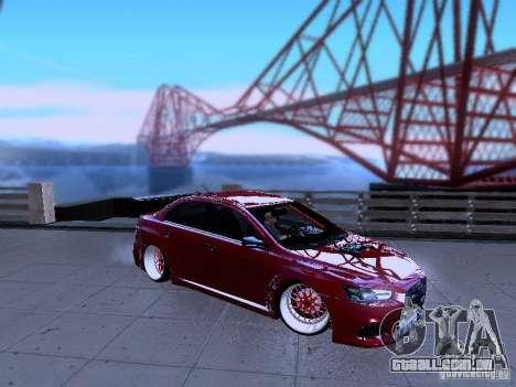 Mitsubishi Lancer Evolution X v2 Make Stance para GTA San Andreas esquerda vista