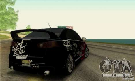 Mitsubishi Lancer Evolution X 2008 para vista lateral GTA San Andreas