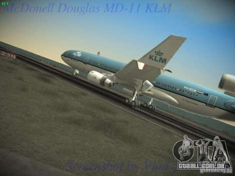McDonnell Douglas MD-11 KLM Royal Dutch Airlines para GTA San Andreas traseira esquerda vista