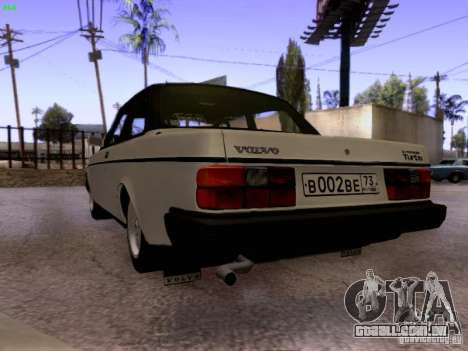 Volvo 242 Turbo para GTA San Andreas traseira esquerda vista