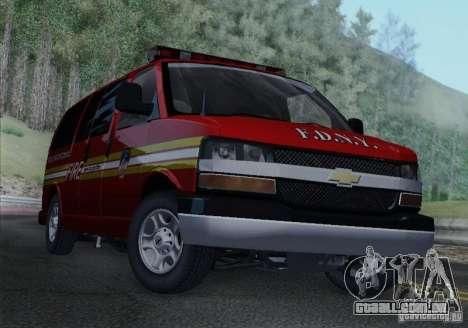 Chevrolet Express Special Operations Command para GTA San Andreas traseira esquerda vista