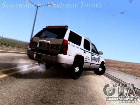 Chevrolet Tahoe 2007 NYPD para GTA San Andreas vista direita