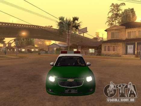 Chevrolet Cruze Carabineros Police para GTA San Andreas vista interior