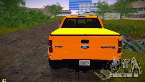 Ford F-150 SVT Raptor para GTA Vice City vista traseira esquerda