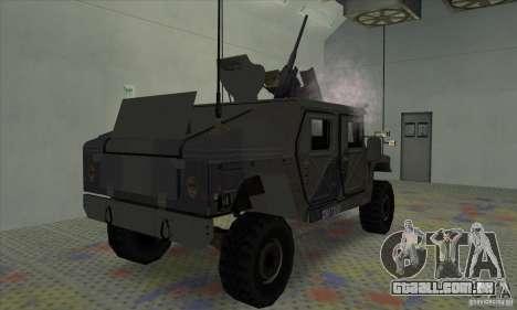 Humvee of Mexican Army para GTA San Andreas traseira esquerda vista
