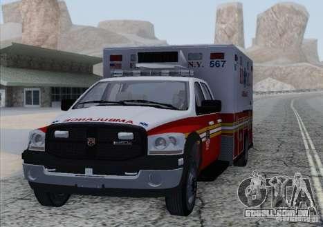 Dodge Ram Ambulance para GTA San Andreas traseira esquerda vista