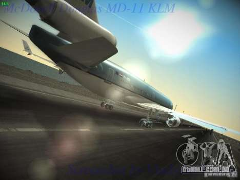 McDonnell Douglas MD-11 KLM Royal Dutch Airlines para GTA San Andreas vista traseira