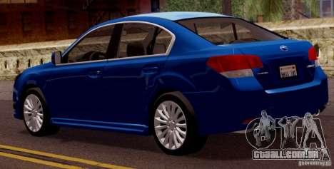 Subaru Legacy B4 2010 para GTA San Andreas vista direita