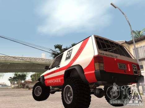 Jeep Cherokee 1984 para GTA San Andreas vista traseira