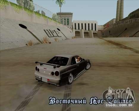 Nissan Skyline GTR R34 para GTA San Andreas vista superior
