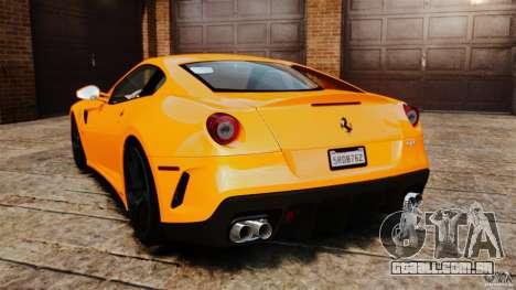 Ferrari 599 GTO 2011 para GTA 4 traseira esquerda vista