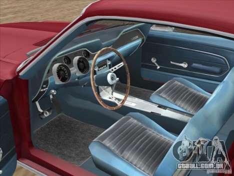 Ford Mustang Fastback 1967 para GTA San Andreas vista interior