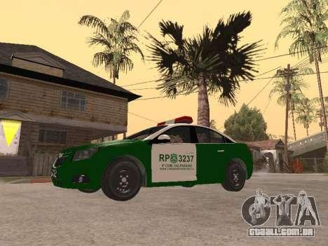 Chevrolet Cruze Carabineros Police para GTA San Andreas esquerda vista