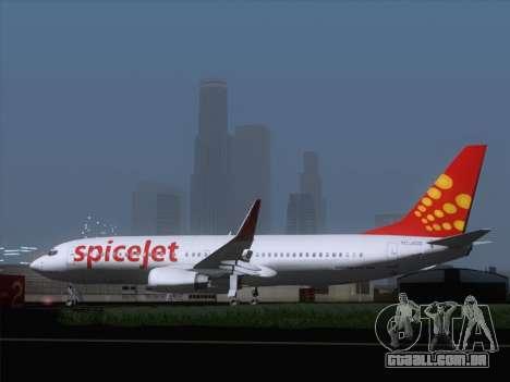 Boeing 737-8F2 Spicejet para GTA San Andreas vista direita