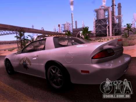 Chevrolet Camaro 2002 California Highway Patrol para GTA San Andreas esquerda vista