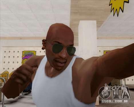 Óculos de sol verdes aviadores para GTA San Andreas terceira tela