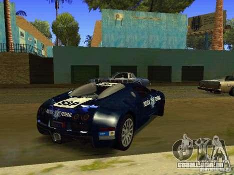 Bugatti Veyron Federal Police para GTA San Andreas traseira esquerda vista