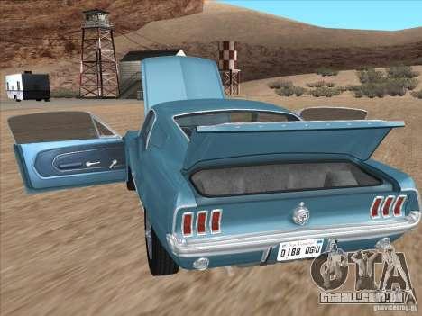 Ford Mustang Fastback 1967 para GTA San Andreas traseira esquerda vista