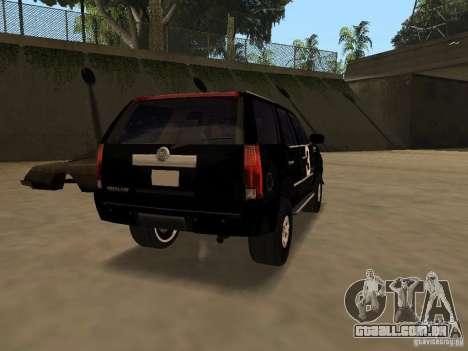 Cadillac Escalade Tallahassee para GTA San Andreas traseira esquerda vista
