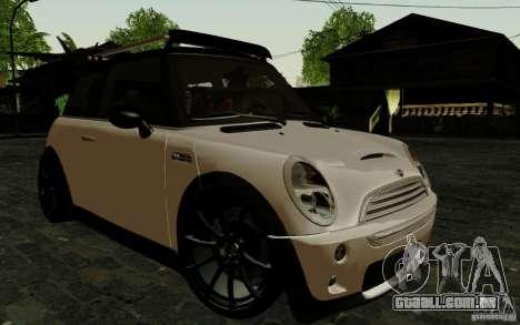 Mini Cooper S Tuned para GTA San Andreas traseira esquerda vista