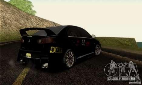Mitsubishi Lancer Evolution X 2008 para GTA San Andreas vista inferior