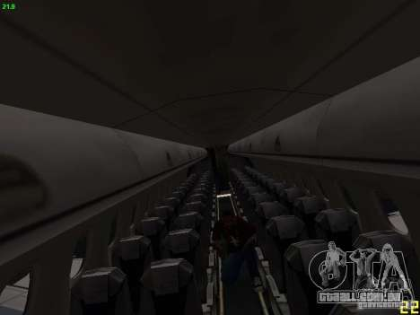 Embraer ERJ 190 USAirways para GTA San Andreas vista interior