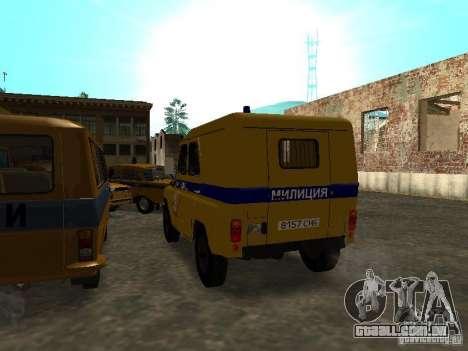 Polícia de 3151 UAZ para GTA San Andreas traseira esquerda vista