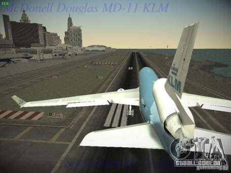 McDonnell Douglas MD-11 KLM Royal Dutch Airlines para GTA San Andreas vista direita
