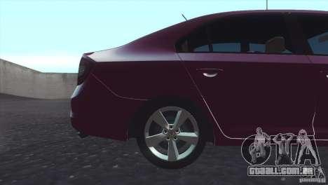 Skoda Rapid 1.6 C.R TDi 2013 V1 para GTA San Andreas traseira esquerda vista