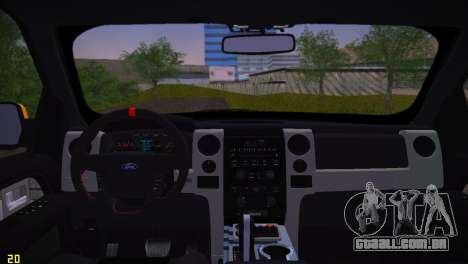 Ford F-150 SVT Raptor para GTA Vice City vista traseira