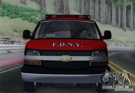 Chevrolet Express Special Operations Command para GTA San Andreas vista superior