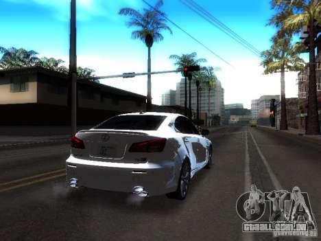 Lexus IS F para GTA San Andreas vista traseira