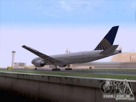 Boeing 777-200 United Airlines para GTA San Andreas vista interior