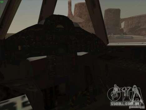 YF-12A para GTA San Andreas vista inferior
