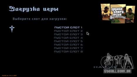 Novo menu de CatVitalio para GTA San Andreas por diante tela