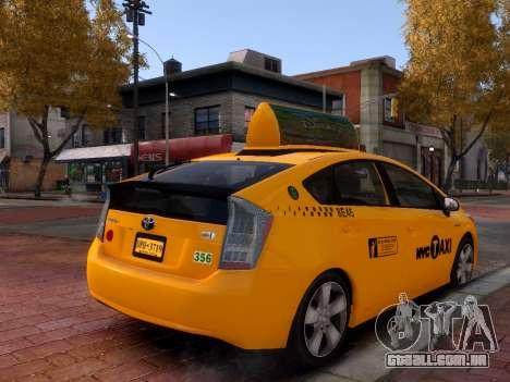 Toyota Prius NYC Taxi 2013 para GTA 4 vista direita