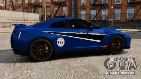 Nissan GT-R 2012 Black Edition AMS Alpha 12 para GTA 4 esquerda vista