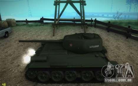 Modelo T-34-85 1945 para GTA San Andreas traseira esquerda vista