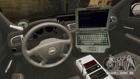 Chevrolet Suburban GTA V Blaine County Sheriff para GTA 4 vista de volta