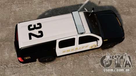 Chevrolet Suburban GTA V Blaine County Sheriff para GTA 4 vista direita