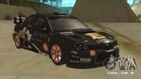 Subaru Impreza WRC Itasha para GTA San Andreas esquerda vista