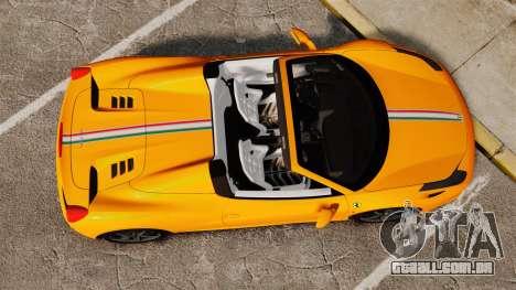 Ferrari 458 Spider 2013 Italian para GTA 4 vista direita