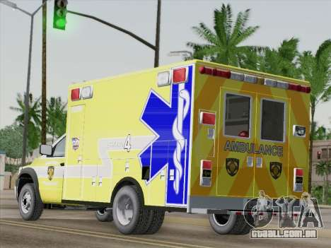 Dodge Ram Ambulance BCFD Paramedic 100 para GTA San Andreas traseira esquerda vista