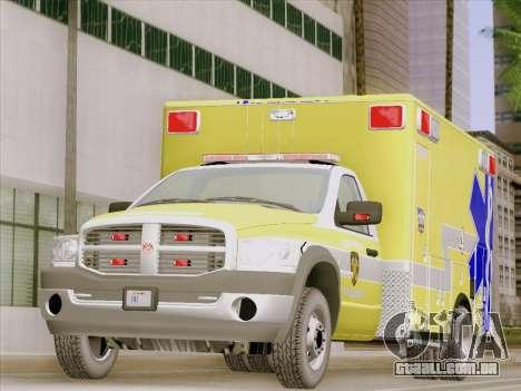 Dodge Ram Ambulance BCFD Paramedic 100 para GTA San Andreas esquerda vista