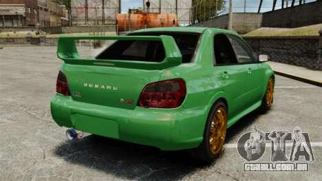 Subaru Impreza 2005 DTD Tuned para GTA 4 traseira esquerda vista