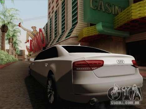 Audi A8 Limousine para GTA San Andreas vista interior