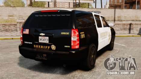 Chevrolet Suburban GTA V Blaine County Sheriff para GTA 4 traseira esquerda vista