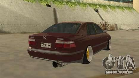 Mazda 626 Hellaflush para GTA San Andreas traseira esquerda vista