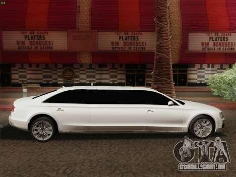 Audi A8 Limousine para vista lateral GTA San Andreas