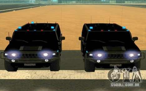 Hummer H2 para GTA San Andreas vista superior